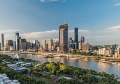 Brisbane city and Soutbank view during a sunny afternoon. Brisbane is the third largest city of Australia and capital of the Queensland state.